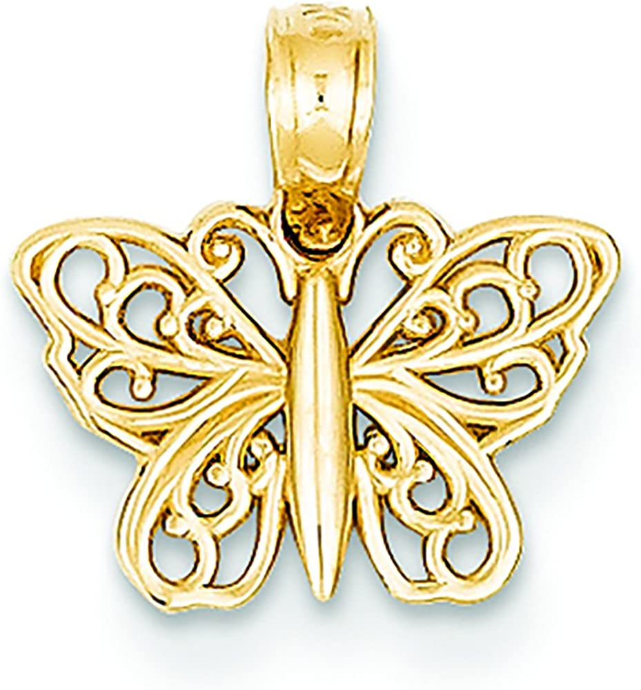 latest 14K Yellow Gold Tiny Pendant Charm Butterfly Ranking TOP19 Filigree