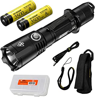 NITECORE MH25GTS 1800 Lumen Rechargeable Tactical Flashlight with 2x High Performance Batteries and LumenTac Battery Organ...