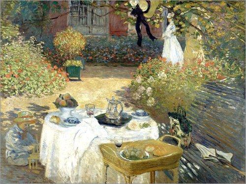 Posterlounge Leinwandbild 80 x 60 cm: Das Mittagessen: Monets Garten in Argenteuil von Claude Monet - fertiges Wandbild, Bild auf Keilrahmen, Fertigbild auf echter Leinwand, Leinwanddruck