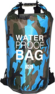 Joick Portable Swimming Waterproof Bag Dry Sack Storage Pouch for Boating - Light Blue Camouflage - 20L - Two Shoulder