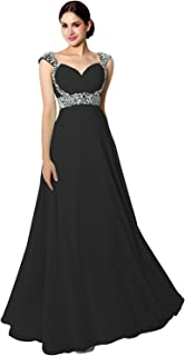 Sarahbridal Women`s Beaded Prom Party Dresses 2020 Long Chiffon Bridesmaid Gowns
