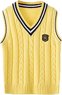 ezShe Boys V Neck Sleeveless Pullover Cable Kinted School Sweaters