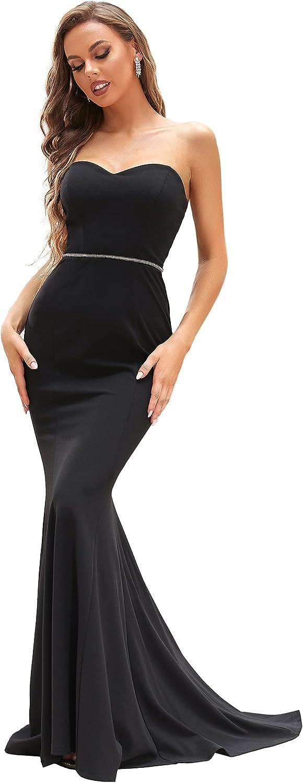 Ever-Pretty Women's Maxi Strapless Mermaid Black Wedding Dresses for Bride 90353