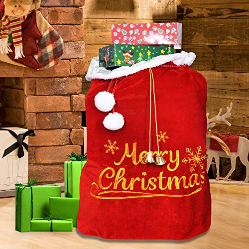 "Christmas Santa Sack with Cord Drawstring (31"" x 27"") for Indoor Xmas Give Decoration, Holiday Gift Décor, Giant Presents Gifts Wrap."