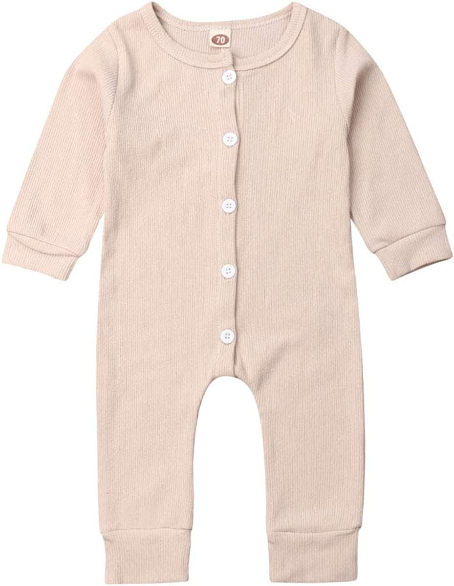 forestbig Baby Boys Girls Long Sleeve Cotton Romper Jumpsuit One-Piece Solid Color Button Playsuit Outfits Clothes