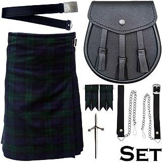 Black Watch Tartan 5 pc Set Kilt Outfit - Kilt Sporran Pin Belt Flash