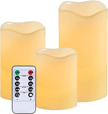 Flameless Battery Operated Flickering Candles: LED Real Wax Electric Unscented Candle Lights with Remote Control Set of 3 Large Pillar Fake Candles for Wedding Party Outdoor Votive Diwali Garden