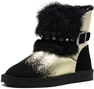 1f85eae60 Women's Snow Boots Fashion Gold Silver Punk Style Ankle Boot Winter Warm  Add Plush Female Shoes