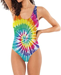 DERLONKAJE Tie Dye Spiral Colorful Pattern Swimwear Monokini Beachwear One Piece Swimsuit Bathing Suits for Women Teen Girl