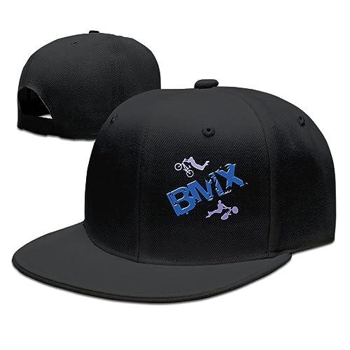52451aa611a61 DDJ7U-JHG23 Unisex BMX Riders Bike Extreme Sports Snapback Flat Cap Peak  Fit Hat Black