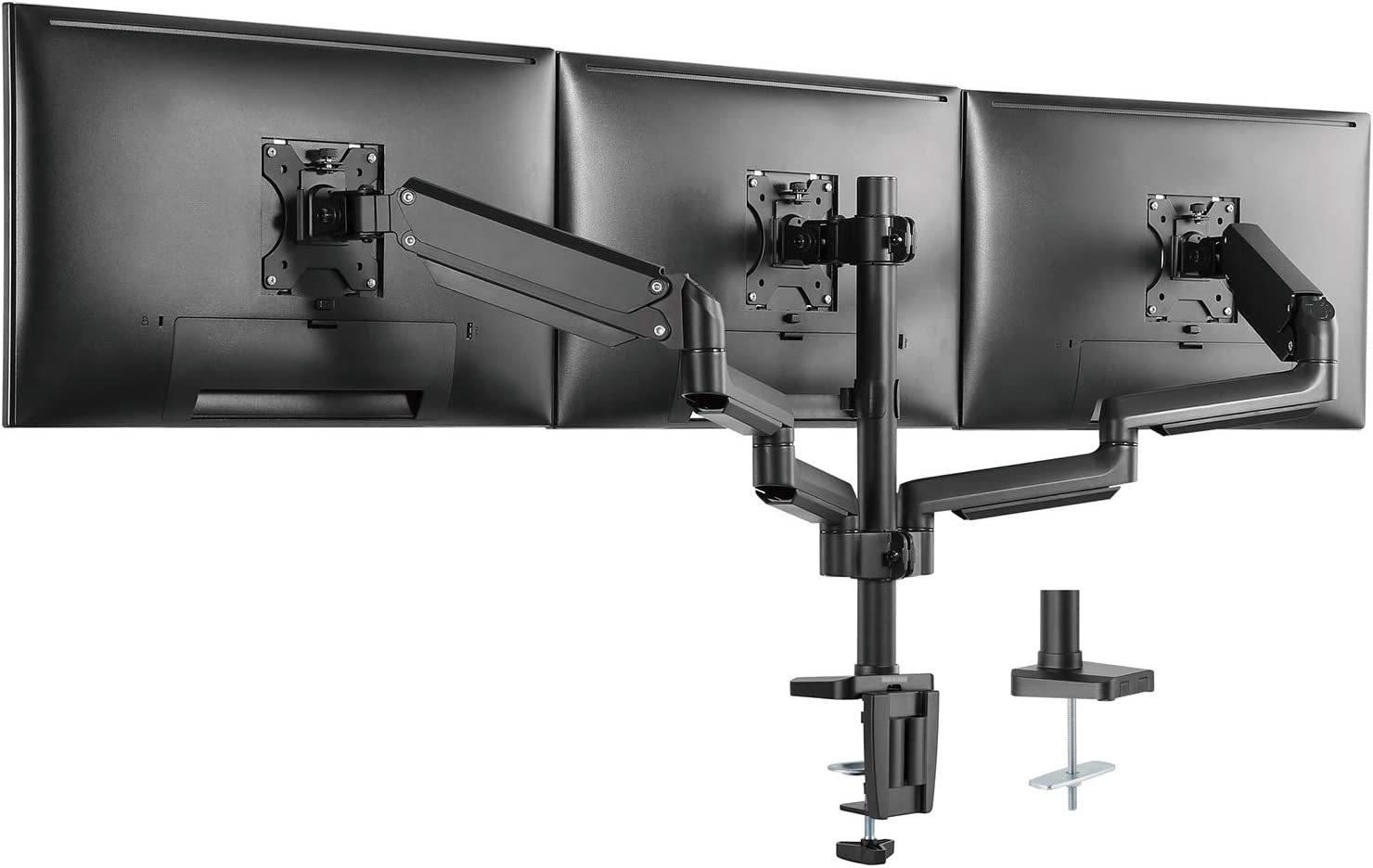 WALI GSDM003 Premium Triple LCD Monitor Desk Mount Fully Adjustable Gas Spring Stand for Display up to 27 inch, 15.4lbs Weight Capacity, Triple Arm, Black