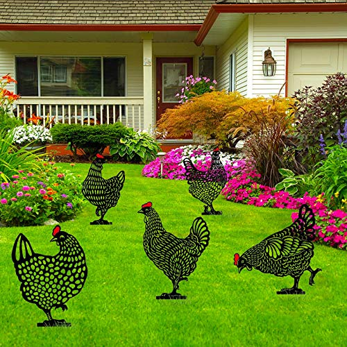 aliveGOT 5PCS Chicken Yard Art Garden Metal Statue Decor, Black Hen Silhouette Chicken Decorative Garden Stakes Outdoor Statues Animal Stakes for Yard Decor and Lawn Ornaments