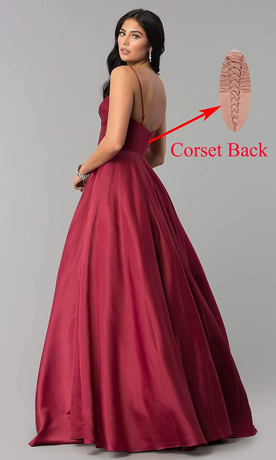 Women's Spaghetti Strap A Line V Neck Satin Prom Dress Long Evening Formal Party Dress Ruched Bodice