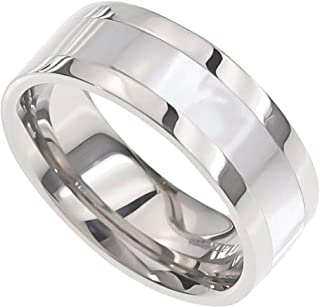 FlameReflection 8mm Men's Titanium Ring Wedding Band High Polish Mother-of-Pearl Inlay Size 8-14 SPJ