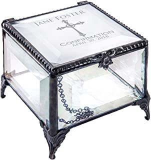 Confirmation Gift for Girl Personalized Keepsake Box Beveled Glass Engraved Cross Jewelry J Devlin Box 326 EB221