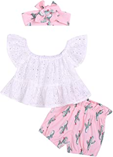 YOUNGER TREE Summer Toddler Baby Girl Clothes Cactus Short Sleeve Shirt Top and Shorts Bowknot Headband Short Outfit Sets