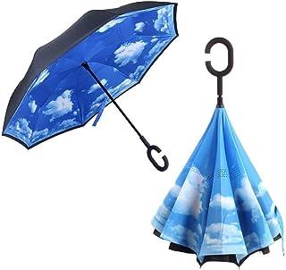 Azul Alta Densidad a Prueba de Agua Apertura Autom/áticaCierre Paraguas Grande de Doble Capa 210T con 10 F/érulas Reforzadas contra el Viento Anti-UV Secado R/ápido MOLPE Paraguas Plegables