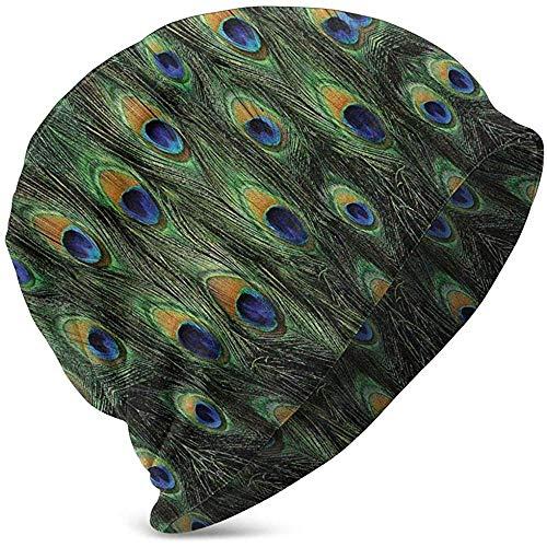 Gorros Unisex Gorros Peacock Tail Plumas Invasión Impreso Slouch Skull Cap Hip-Hop Summer Hat Sombreros De Punto para Niñas Niños Negro