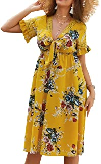 Joick Women Summer Over-Knee Dress Floral Dress Short Sleeves V-Neck Knotted Ruffled