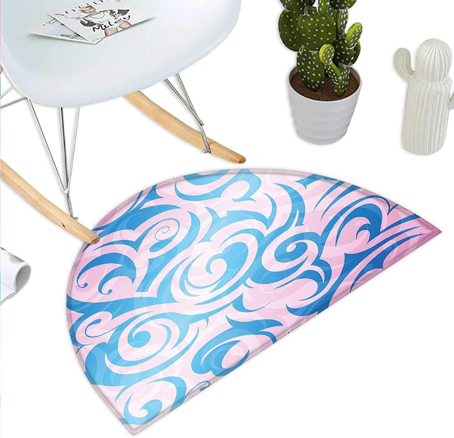 Navy and bluesh Semicircle Doormat Abstract Pattern with Tribal Curls Artistic Floral Curves Swirls Halfmoon doormats H 31.5  xD 47.2  Pale bluee Pale Pink