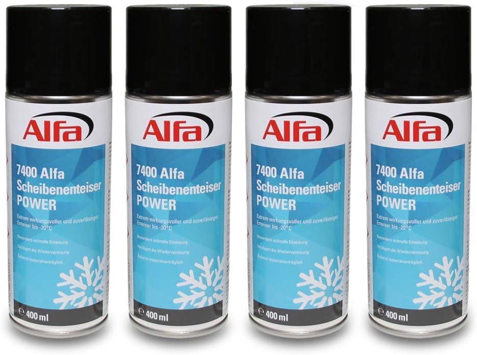 Alfa Scheibenenteiser 4 X 400 Ml 1 6 Liter Power Spraydose Schnelle Enteisung Bis 20 C Winter Entfroster Scheiben Enteiser Türschloss Türdichtung Eis Frost Auto