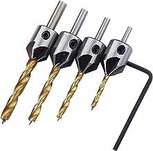 Homyl 4x Conjunto De Brocas Escareador Alargador 3mm-6mm Chanfro Para Madeira + Haste Hexagonal
