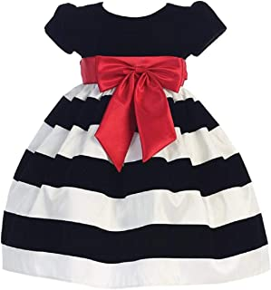 Áo quần dành cho bé gái – Girls Christmas/Holiday Black Cap-Sleeved Velvet Bodice Dress with Striped Skirt