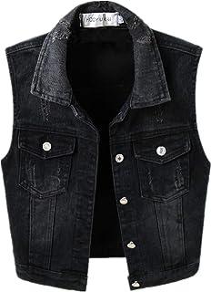 TXR Women Black Denim Vest Sleeveless Jean Cropped Vest Jacket with Chest Pockets