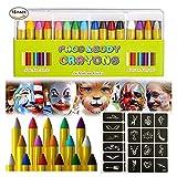 Mroobest Face Painting, Matite Trucco, 16 Colori Face Paint, Colorare la Faccia Body Painting Kit per Bambini