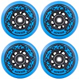 AOWISH 4-Pack Inline Skate Wheels Outdoor Asphalt Formula 85A Hockey Roller Blades Replacement Wheel with Bearings ABEC-9 and Aluminum Spacers (Blue, 76mm)