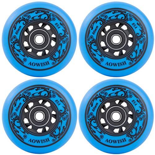 AOWISH 4 Stück Inline-Skate-Räder mit Asphalt-Formel 85A Hockey-Rollerblätter Ersatzrad mit Kugellagern ABEC-9 und Aluminium-Abstandshalter (blau, 72 mm)