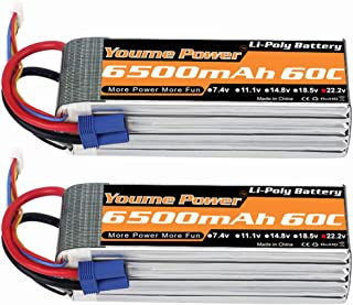 6S Lipo Battery EC5, 22.2V RC LiPo Battery 6500mAh 60C for RC DJI E-Flite Airplane Quadcopter Helicopter Align 7.2 700L Yak 54 T-REX