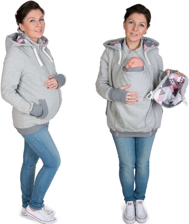 Vêtement Multifonction Kangourou maternité Porte-Enfants Couverture Veste 2 en 1 Sweats à Capuche Sweats Femmes Vêtements pour Sweater Enceinte Grey