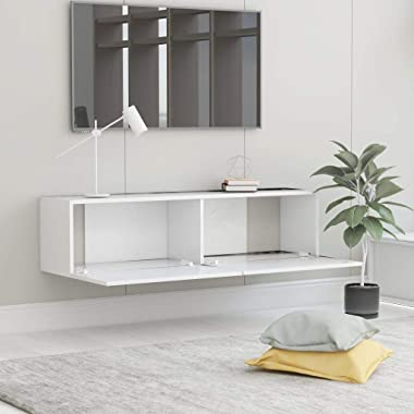 """Unfade Memory Wall Mounted Storage Cabinet Floating TV Media Stand, Chipboard Console Hutch 47.2""""x11.8""""x11.8"""" (Wh"""
