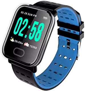 """Lamkei Bouncefit Fitpro Square Smartwatch (Blue) [iOS/Android Compatible, IP67 Water Resistant, Blue Silicone Strap, 1.3"""" ..."""