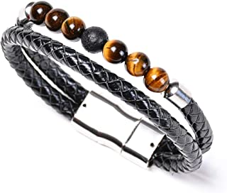Aaiffety 7 Chakra Lava Rock Bracelet Natural Stone Yoga Healing Diffuser Genuine Leather Bracelets with Magnetic Clasp Tiger Eye Agate Howlite for Men Women