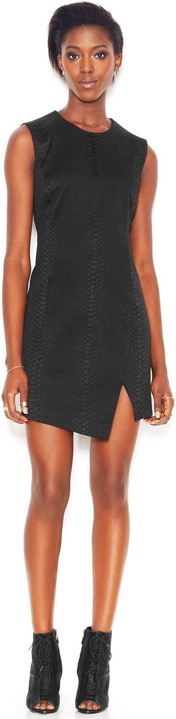 RACHEL Rachel Roy Sleeveless Mixed-Media Embossed Dress, Black, 2