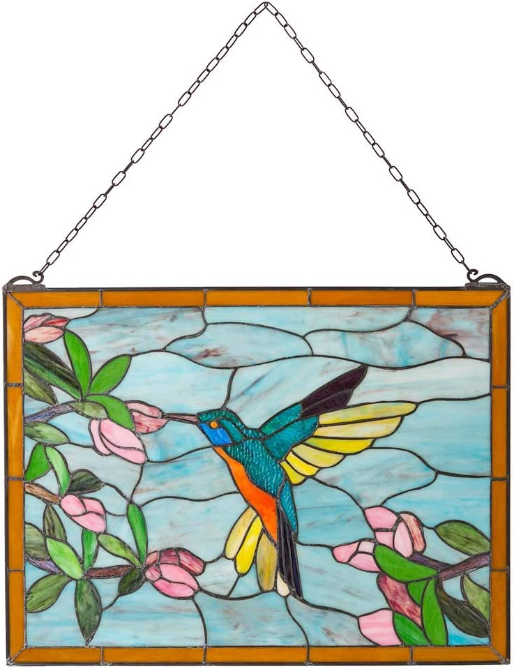 Max 84% OFF Wind Weather Colorful Stained Glass Art Hummingbird with Panel Popular standard