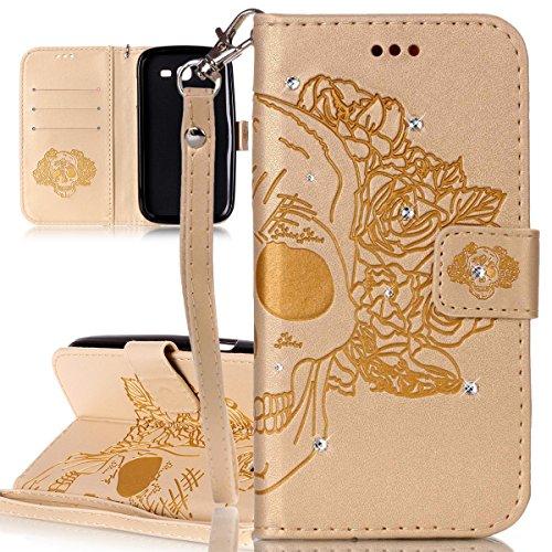 ISAKEN Custodia Cover per Samsung Galaxy Grand Neo I9060 con Strap, Inlaid Bling Diamante Cover in PU Pelle Flip Portafoglio Wallet Caso con Supporto di Stand/Carte Slot - Cranio:Oro