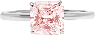 2.0 ct Brilliant Asscher Cut Solitaire Pink Simulated Diamond CZ Ideal VVS1 D 4-Prong Engagement Wedding Bridal Promise Anniversary Ring Solid Real 14k White Gold for Women