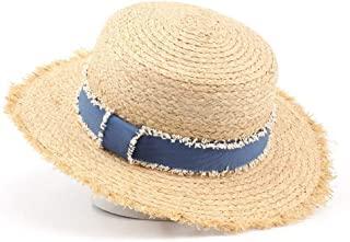 SHENTIANWEI Lafite Flat hat, raw Grass hat, Ladies Summer Blue Ribbon Sun hat (Color : Wheat-Colored)