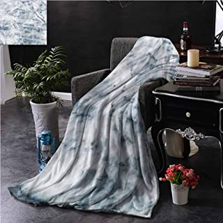 SSKJTC Marble Black and White Throw Blanket Double-Sided Printing Hazy Scratches Antique Style Dorm Bed Baby Cot Traveling Picnic W60 xL80