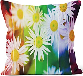 Nine City Rainbow Flowers Wallpaper Large XXXL Image Home Decor Throw Pillow Cover Cotton Linen Cushion,HD Printing for Couch Sofa Bedroom Livingroom Kitchen Car,36