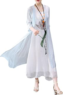 HÖTER Women's Oriental Beauty Folk Style Irregular Maxi Painting Cotton Linen Casual 2-Pieces Loose Dress