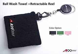 A99 Golf Ball Wash Towel Microfiber Ball Towel + Retractable Reel
