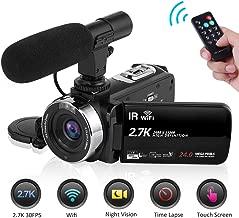 Seree Camcorder Video Camera 2.7K WiFi Vlogging Camera Night Vision Digital Camera with Microphone Vlog Blogging Video Camera for YouTube