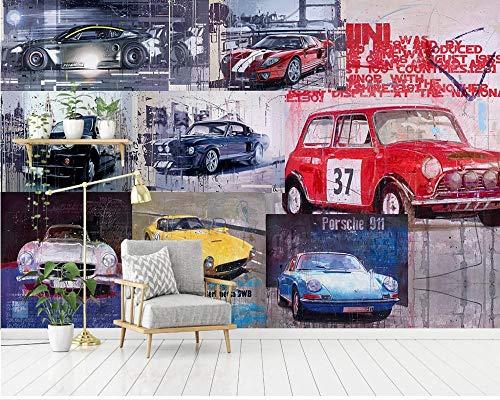 MINCOCO Custom Cool Retro Vintage Luxe Sport Auto Gereedschap Achtergrond Behang Klassieke Wandbehang Auto 350 x 245 cm.