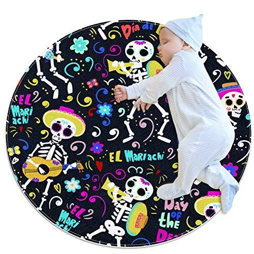 chuangxin Band Van Mariachi Skeletons Baby Tapijt voor Kwekerij Kids Ronde Warme Zachte Activiteit Mat Vloerbedekking Anti-slip voor Kinderen Peuters Slaapkamer, 27.6x27.6IN