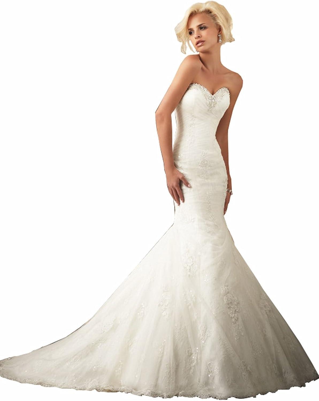 Wedding Family Mermaid Sweetheart Court Train Tulle Lace Wedding Dress