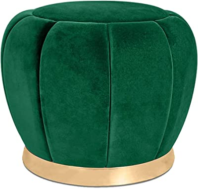 Foot Stool Ottomans Upholstered Stool Rest Soft Footstool with Metal Base Wooden Frame for Bedroom Living Room - 38x40cm
